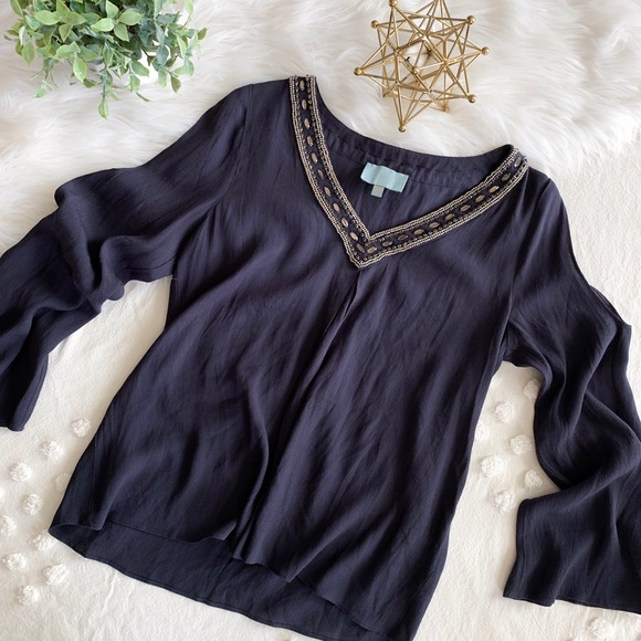 Skies Are Blue Tops - Navy Long Sleeve Blouse